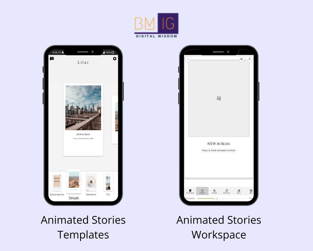 Animated Stories instagram story creation tool workspace and templates