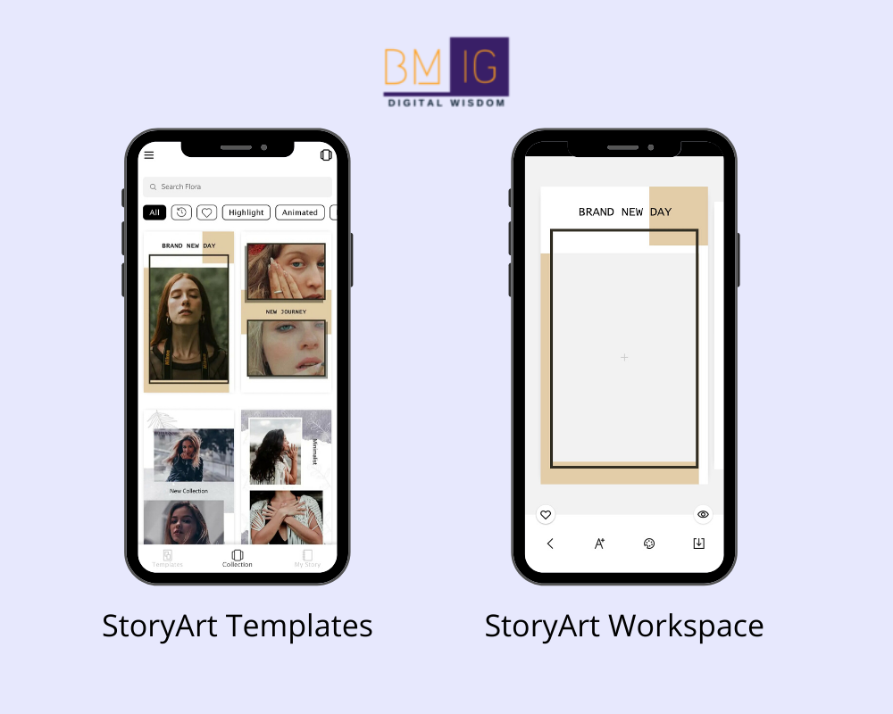 StoryArt instagram story creation tool workspace and templates